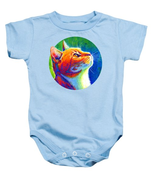 Rainbow Cat Portrait Baby Onesie