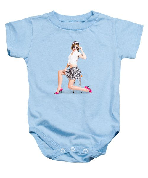 Retro Brunette Pin Up Girl In Sixties Fashion Baby Onesie