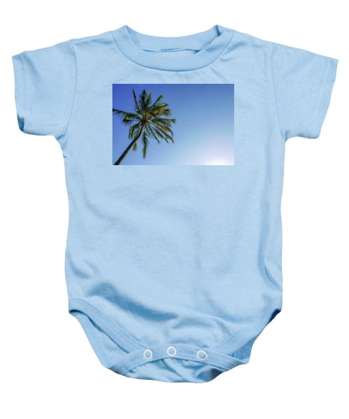 Shades Of Blue And A Palm Tree Baby Onesie