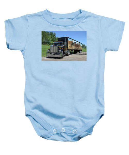 Smokey And The Bandit Tribute Kenworth W900 Black And Gold Semi Truck Baby Onesie