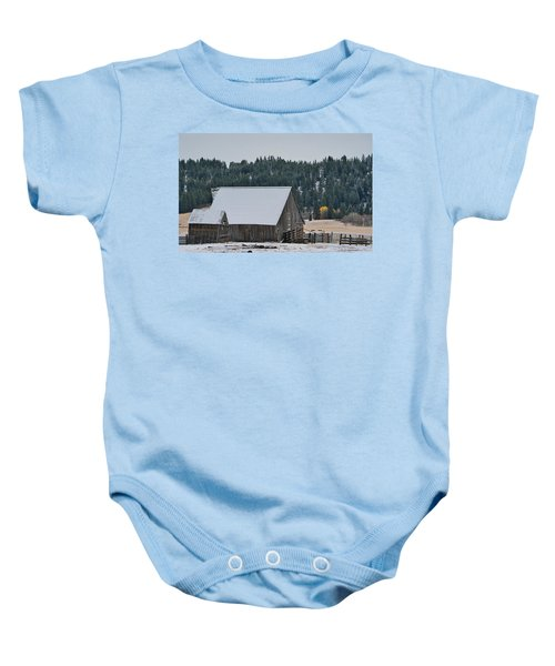 Snowy Barn Yellow Tree Baby Onesie
