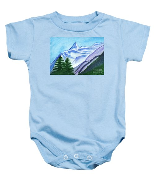 Two Mountain Spruce Against The Backdrop Of Snow-capped Peak Baby Onesie
