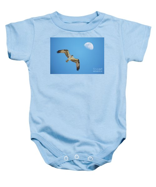 Soaring Osprey And Gibbous Moon Baby Onesie