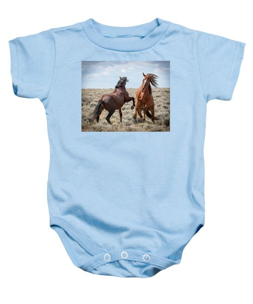 Baby Onesie featuring the photograph Stallion Speak by Mary Hone