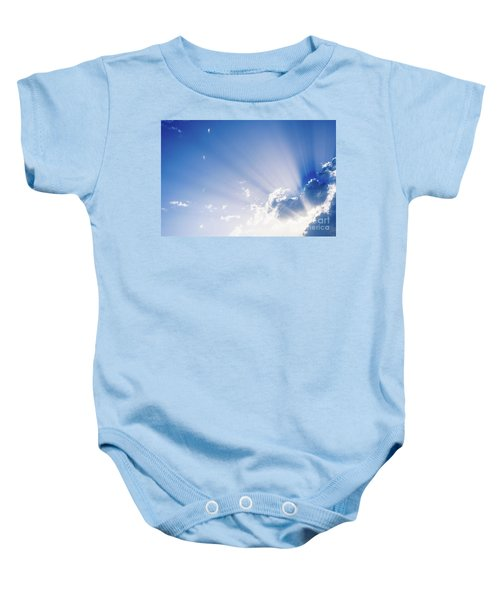 Sunbeams Rising From A Large Cloud In Intense Blue Sky On A Summer Afternoon Baby Onesie