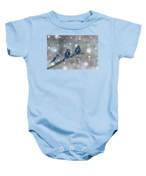 Three Blue Jays In The Snow Baby Onesie