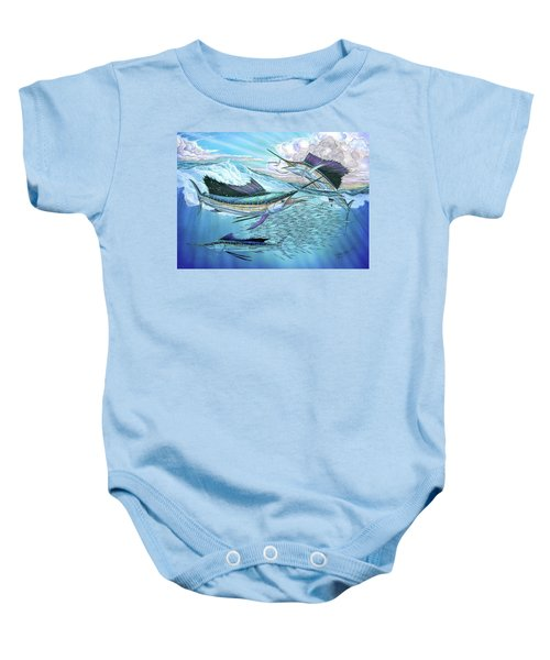 Three Sailfish And Bait Ball Baby Onesie
