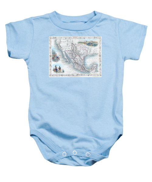 Vingage Map Of Texas, California And Mexico Baby Onesie