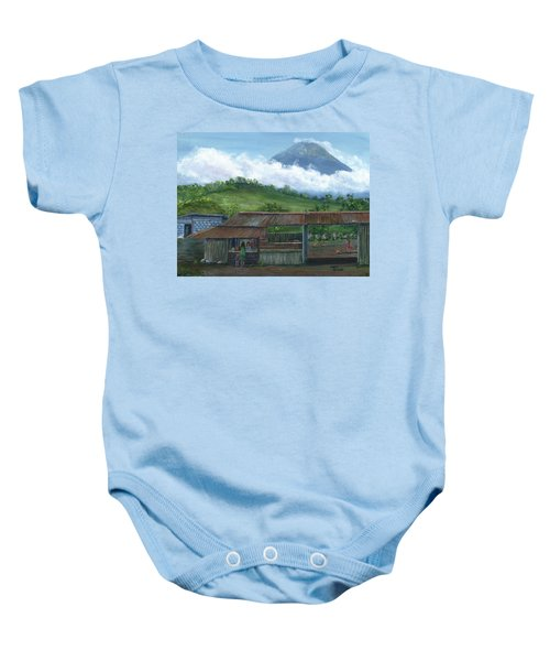 Volcano Agua, Guatemala, With Fruit Stand Baby Onesie