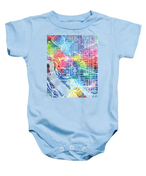 Washington Dc Map Watercolor Baby Onesie