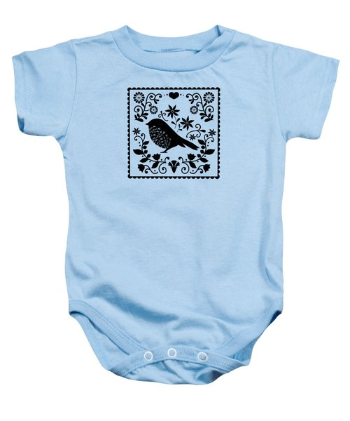 Woodland Folk Black And White Blue Bird Tile Baby Onesie