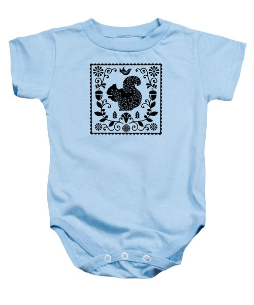 Woodland Folk Black And White Squirrel Tile Baby Onesie