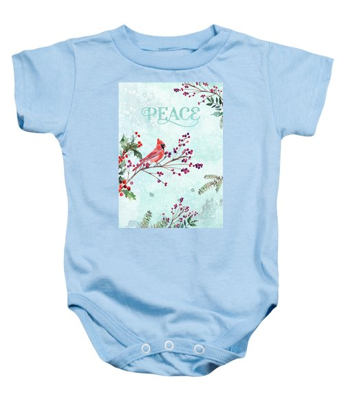 Woodland Holiday Peace Art Baby Onesie