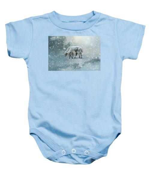 Yaks Calves In A Snowstorm Baby Onesie