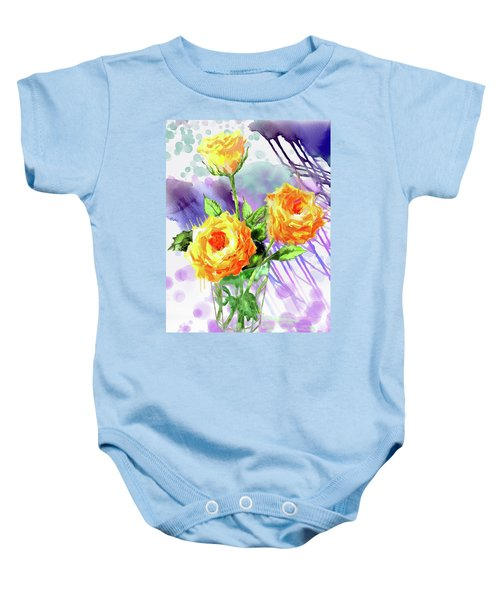 Yellow Roses In A Glass Baby Onesie