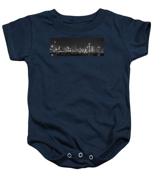Chicago Skyline At Night Black And White Panoramic Baby Onesie