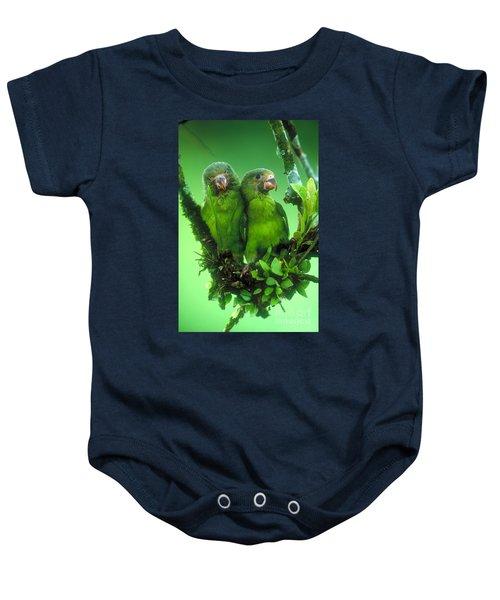 Cobalt-winged Parakeets Baby Onesie by Art Wolfe