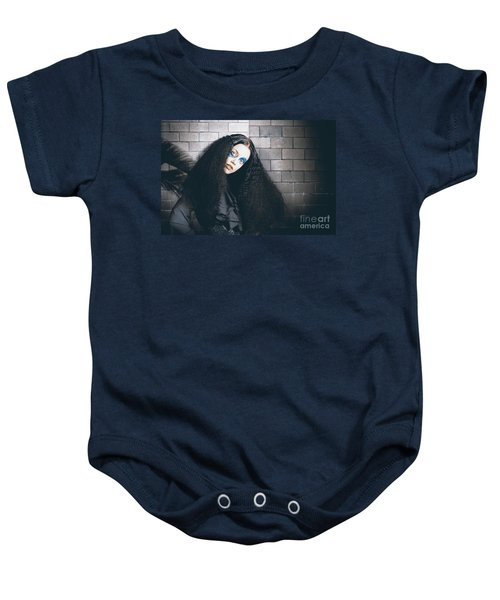 Occult Medieval Performer On Castle Brick Wall Baby Onesie