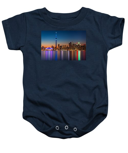Toronto Skyline At Dusk Baby Onesie