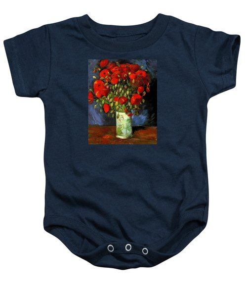 Vase With Red Poppies Baby Onesie