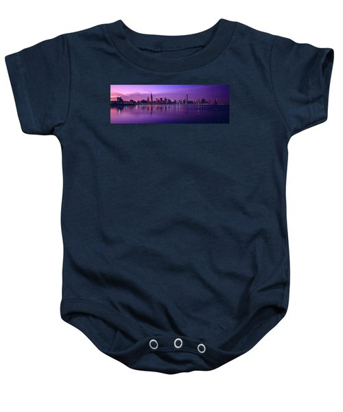 Buildings At The Waterfront Lit Baby Onesie by Panoramic Images