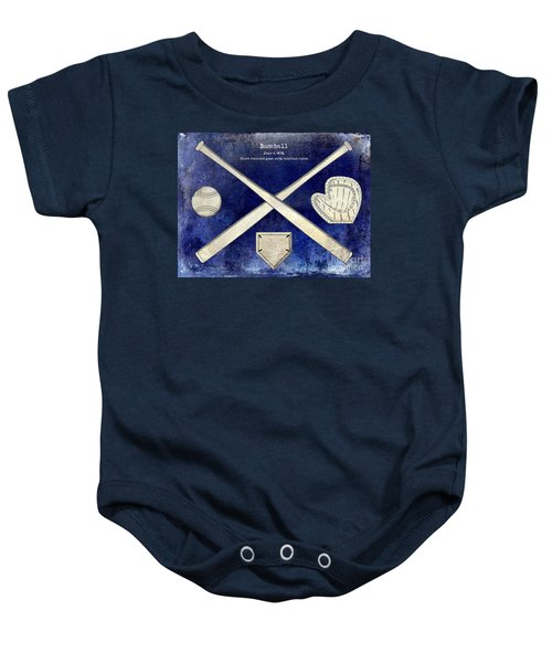1838 Baseball Drawing 2 Tone Blue Baby Onesie