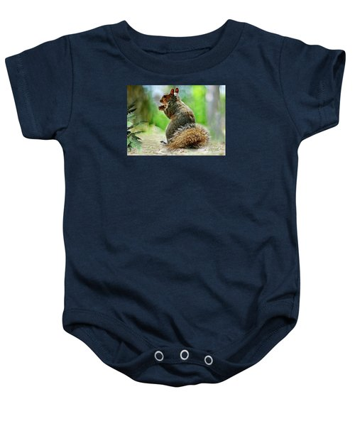 Baby Onesie featuring the mixed media Harry The Squirrel by Morag Bates