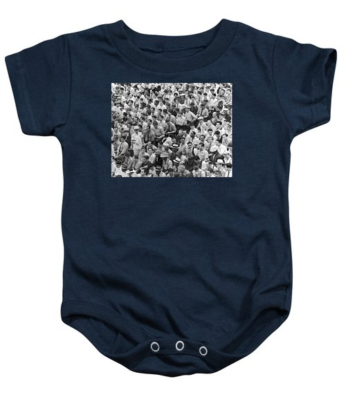 Baseball Fans In The Bleachers At Yankee Stadium. Baby Onesie by Underwood Archives