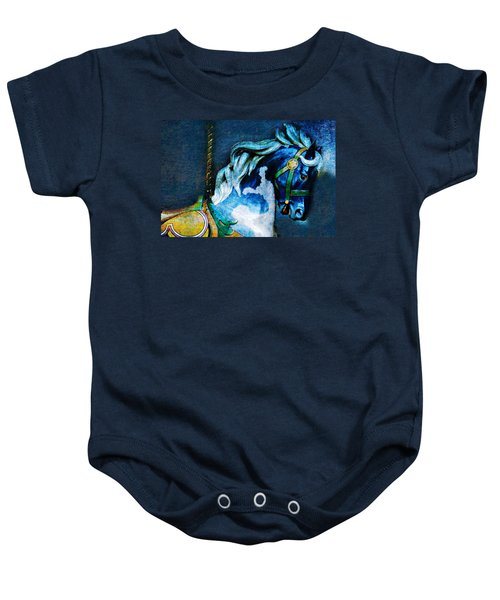 Baby Onesie featuring the photograph Blue Carousel Horse by Renee Hong