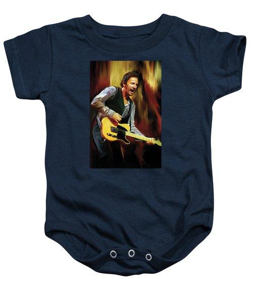 Bruce Springsteen Artwork Baby Onesie by Sheraz A