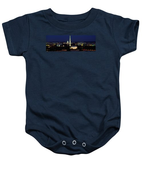 Buildings Lit Up At Night, Washington Baby Onesie by Panoramic Images
