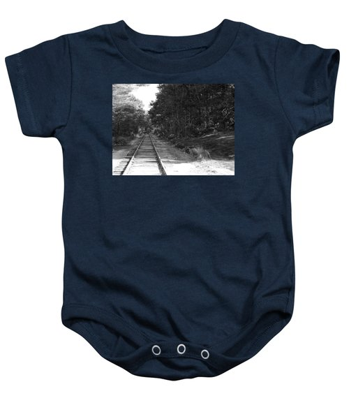 Bw Railroad Track To Somewhere Baby Onesie