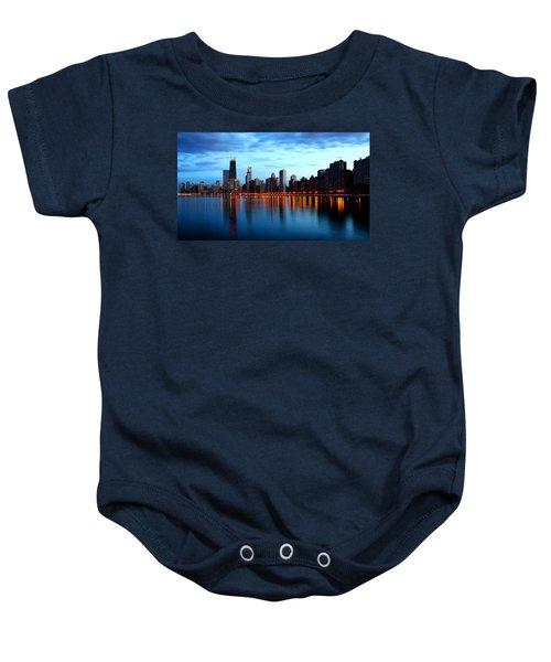 Chicago Skyline Dusk Baby Onesie