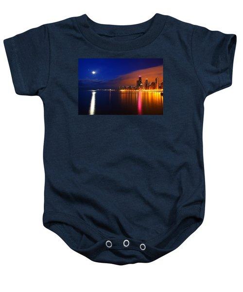Chicago Skyline Moonlight Baby Onesie