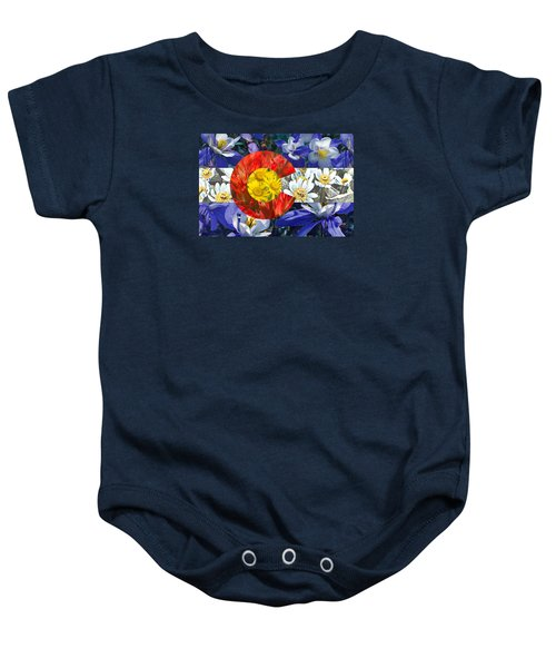 Colorado State Flag With Wildflower Textures Baby Onesie by Aaron Spong