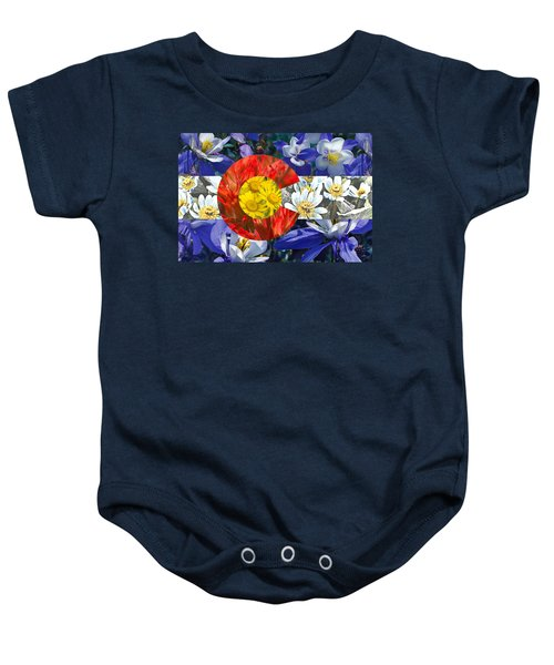 Colorado State Flag With Wildflower Textures Baby Onesie