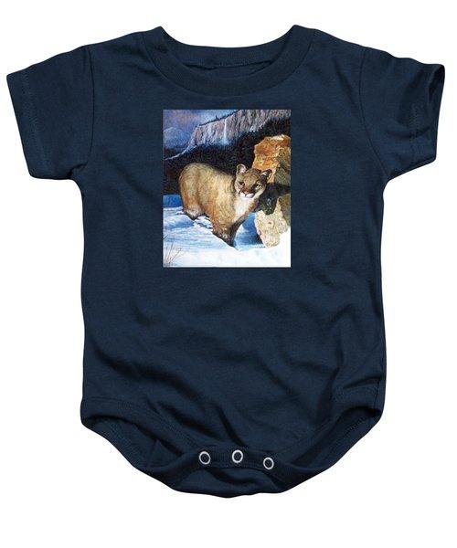 Cougar In Snow Baby Onesie