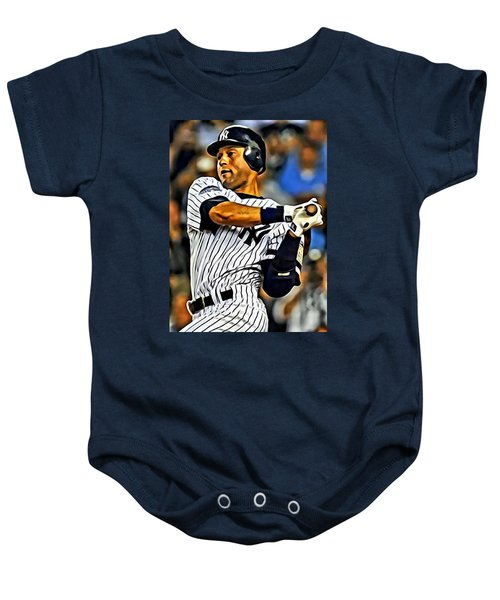 Derek Jeter In Action Baby Onesie by Florian Rodarte