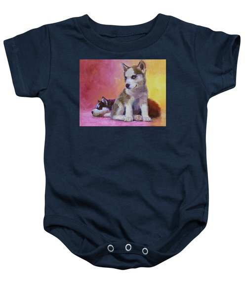 Double Trouble - Alaskan Husky Sled Dog Puppies Baby Onesie