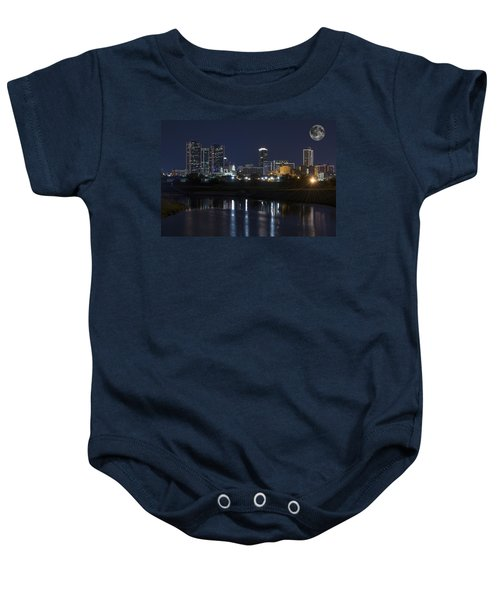 Fort Worth Skyline Super Moon Baby Onesie