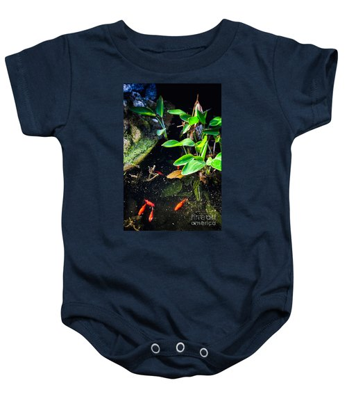 Baby Onesie featuring the photograph Goldfish In Pond by Silvia Ganora