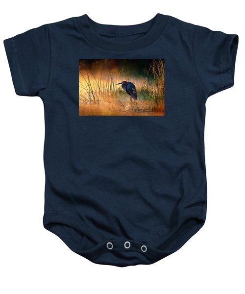 Goliath Heron With Sunrise Over Misty River Baby Onesie