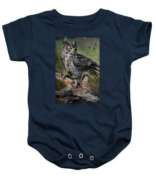 Great Horned Owl On Branch Baby Onesie