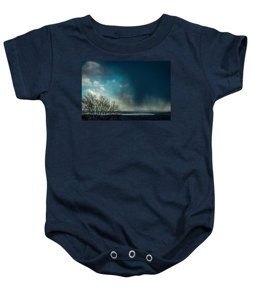 Baby Onesie featuring the photograph Hail Storm Obscures Ireland's Blue Sky by James Truett