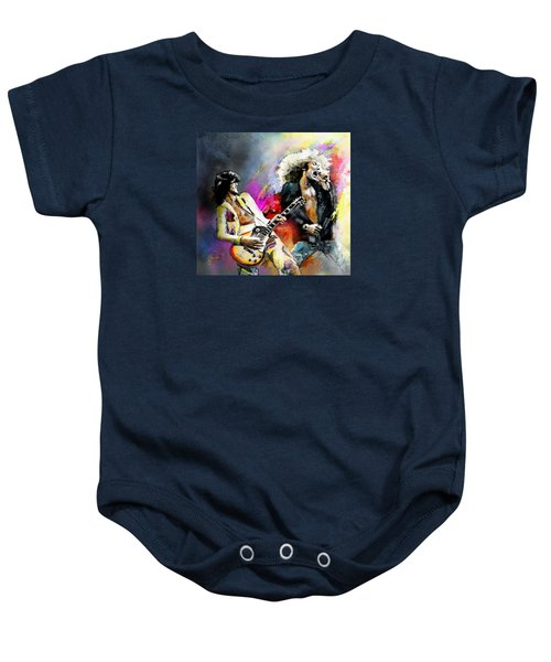 Jimmy Page And Robert Plant Led Zeppelin Baby Onesie by Miki De Goodaboom