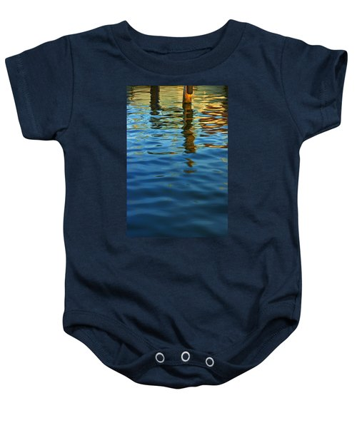 Light Reflections On The Water By A Dock At Aransas Pass Baby Onesie