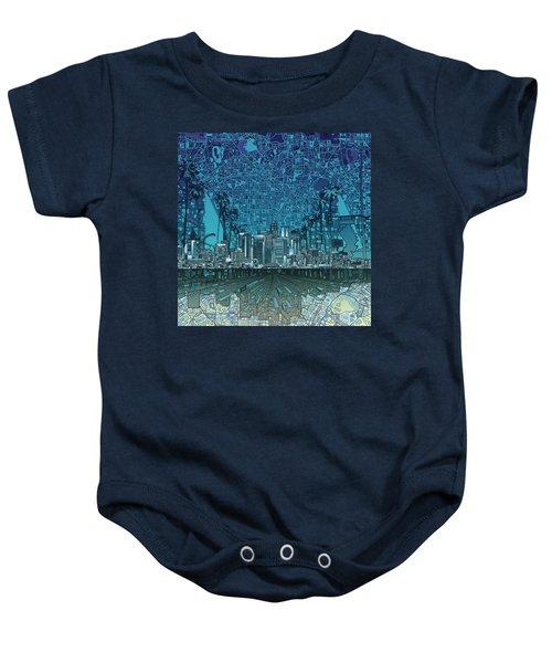 Los Angeles Skyline Abstract 5 Baby Onesie by Bekim Art
