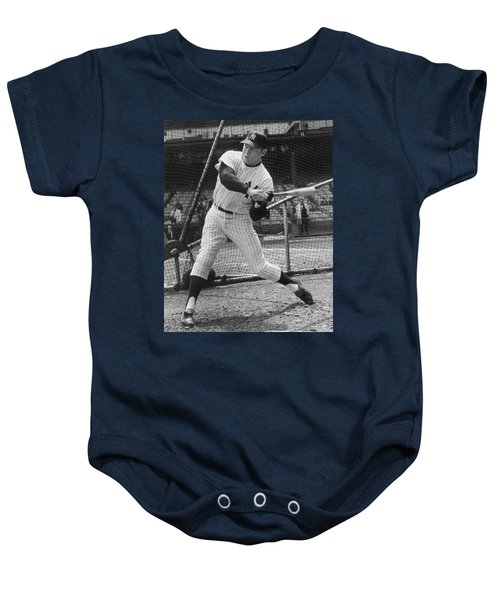 Mickey Mantle Poster Baby Onesie by Gianfranco Weiss