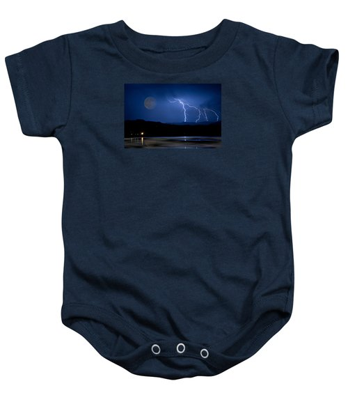 Misty Lake Full Moon Lightning Storm Fine Art Photo Baby Onesie