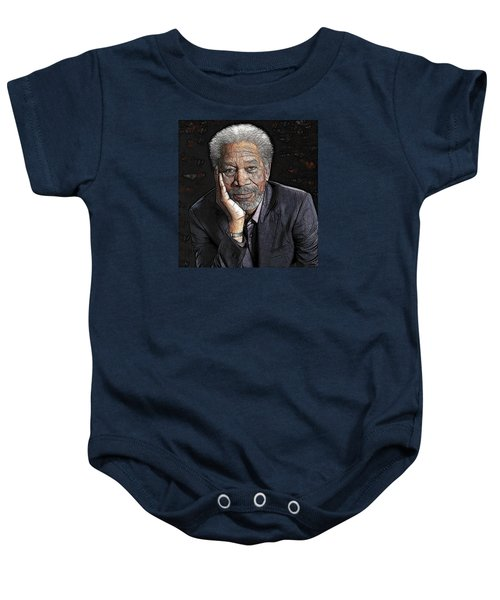 Baby Onesie featuring the painting Morgan Freeman  by Georgeta Blanaru